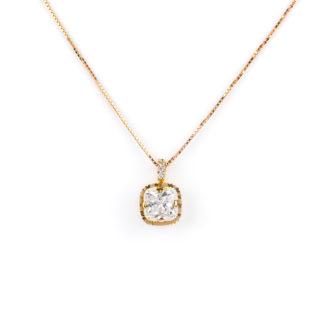 Collana oro rosa zircone, girocollo donna in oro tit 750 (18 kt) di rodiatura oro rosa, con ciondolo di zircone; catena veneziana massiccia