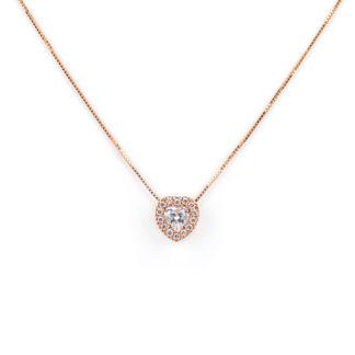 Collana oro rosa cuore, girocollo donna in oro tit 750 (18 kt) di rodiatura oro rosa, con cuore di zirconi scorrevole (che non esce)