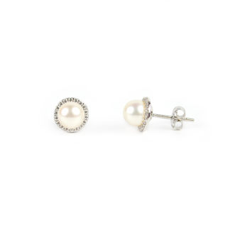 Orecchini perle oro zirconi coltivate acqua dolce mm 6,5 su montatura in oro bianco tit 750 (18 kt) con zirconi, orecchini donna, sposa