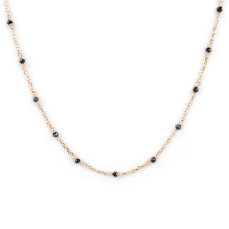 Collana oro rosa spinello nero; girocollo donna in oro rosa e bianco tit 750 (18 kt), con spinello nero 2,5 mm; catena rolò ovale massiccia