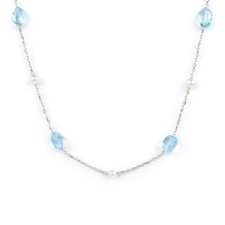 Collana topazio azzurro perle, girocollo donna in oro bianco tit 750 (18 kt), con pietre di topazio azzurro e perle coltivate acqua dolce