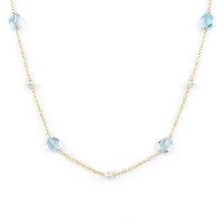 Collana topazio azzurro oro, girocollo donna in oro giallo tit 750 (18 kt), con pietre di topazio azzurro e perle coltivate acqua dolce