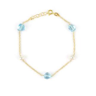Bracciale oro topazio azzurro, bracciale in oro giallo 750, con pietre di topazio azzurro e perle coltivate acqua dolce; catena rolò tonda massiccia