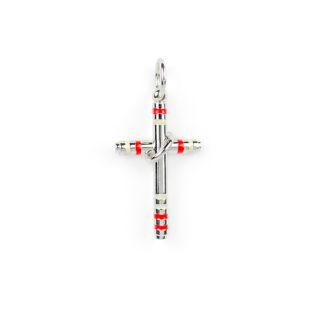 Croce uomo oro bianco, ciondolo in oro bianco tit 750 (18 kt) modello croce di dimensione 3,50 x 1,70 cm con smalti rossi e bianchi
