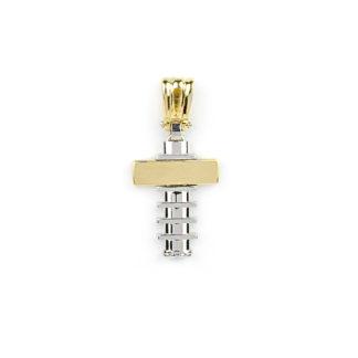 Croce uomo oro giallo, ciondolo croce per uomo in oro giallo e oro bianco tit 750 (18 kt) di dimensione 3 x 1,50 cm