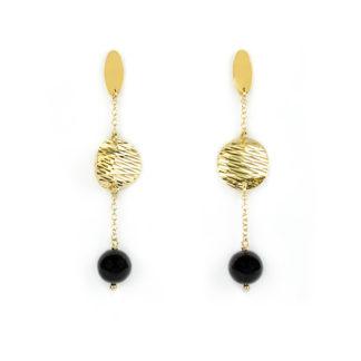 Orecchini oro giallo onice, orecchini perno e farfallina pendenti in oro giallo tit 750 (18 kt) con pietra nera onice di 9 mm e disco in oro giallo