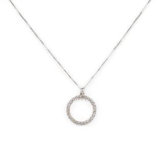 Collana cerchio zirconi oro, girocollo in oro bianco tit 750 (18 kt) con cerchio di zirconi vuoto al centro, scorrevole (che non esce), di diametro 1,40 cm