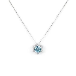 Collana oro topazio azzurro, girocollo in oro bianco tit 750 (18 kt) con pendente a stella di diametro 1,16 cm, composto da un topazio azzurro e zirconi