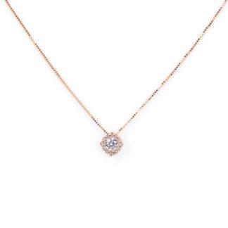Collana oro rosa zirconi, girocollo in oro rosa tit 750 (18 kt) con pendente di zirconi diametro 6 mm scorrevole (che non esce)