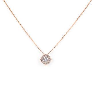Collana oro rosa zirconi, girocollo in oro rosa tit 750 (18 kt) con pendente di zirconi diametro 7,38 mm scorrevole (che non esce)