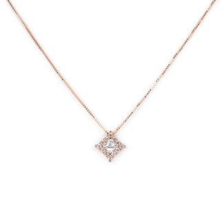 Collana in oro rosa, girocollo donna oro rosa tit 750 (18 kt) con pendente di zirconi dimensione 8,70 x 8,70 mm scorrevole (che non esce)