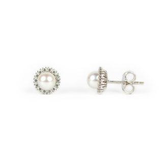 Perle oro bianco zirconi, orecchini perle coltivate acqua dolce 5 mm su montatura in oro bianco tit 750 (18 kt) con zirconi, diametro esterno 7,60 mm