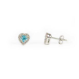 Cuore azzurro oro bianco, orecchini perno e farfallina, montatura a cuore in oro bianco tit 750 (18 kt), cornice di zirconi, con topazio azzurro