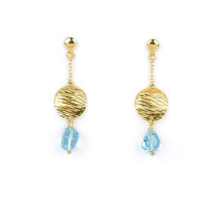 Orecchini oro topazio azzurro, orecchini perno e farfallina pendenti in oro giallo tit 750 (18 kt) con topazio azzurro di 6x9 mm e disco in oro giallo