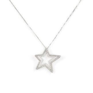 Collana ciondolo stella oro, girocollo donna in oro bianco tit 750 (18 kt) con ciondolo stella di zirconi dimensione 2,40 x 2,40 cm