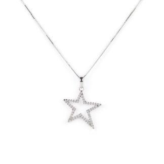 Collana ciondolo stella oro, girocollo donna in oro bianco tit 750 (18 kt) con ciondolo stella di zirconi dimensione 2 x 2 cm