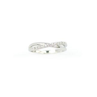 Anello fascetta oro bianco, anello modello fascetta in oro bianco 750, con zirconi; larghezza massima 3,77 mm; misura anello 12
