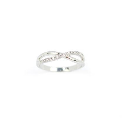 Anello oro bianco zirconi, anello modello fascetta in oro bianco 750, con zirconi; larghezza massima 4,10 mm; misura anello 12