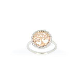 Anello albero della vita, anello in oro bianco 750, con albero della vita in oro rosa su cornice di zirconi diametro 12,80; misura anello 14