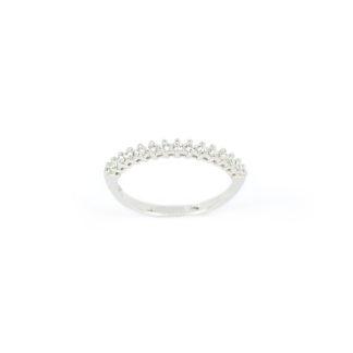 Anello fedina mezzo giro, anello fedina donna in oro bianco 750, larga 2,3 mm, con zirconi a mezzo giro, misura anello 13