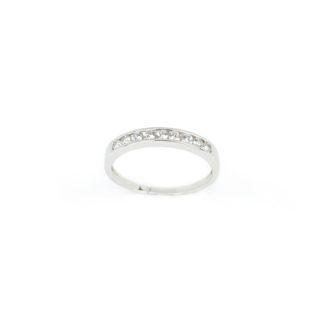Fedina binario oro zirconi, anello fedina donna in oro bianco 750 a binario (senza griffe) larga 2,76 mm, con zirconi; misura anello 14