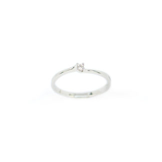 Anello solitario oro diamante, anello donna solitario in oro bianco 750 18 kt con diamante GVS ct 0,03; misura anello 13