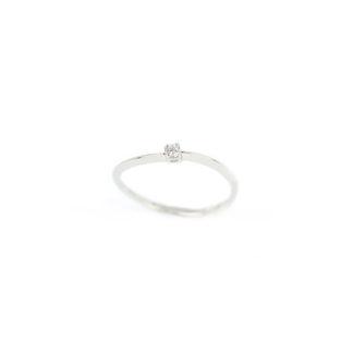 Anello solitario oro bianco, anello donna solitario in oro bianco 750 18 kt con diamante GVS ct 0,03; misura anello 13
