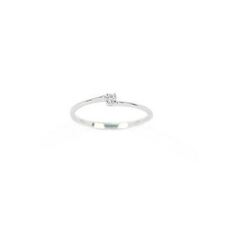 Anello solitario diamante oro, anello donna solitario in oro bianco 750 18 kt con diamante GVS ct 0,03; misura anello 13
