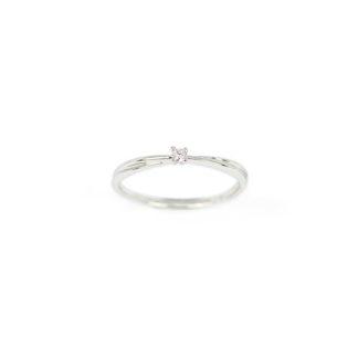 Solitario diamante oro bianco, anello donna solitario in oro bianco 750 18 kt con diamante GVS ct 0,03; misura anello 13