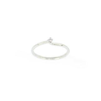Anello solitario diamante oro , anello donna solitario in oro bianco 750 18 kt con diamante GVS ct 0,03; misura anello 13