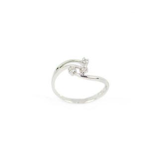 Anello trilogy diamanti oro, anello donna trilogy in oro bianco 750 con diamanti GVS ct 0,06; misura anello 14