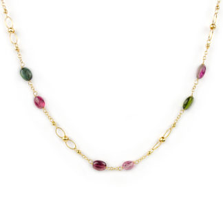 Collana oro giallo tormaline, collana girocollo donna in oro giallo tit 750 (18 kt) con tormaline di dimensione 5x7 mm circa