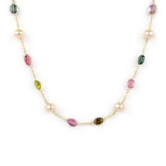 Collana oro tormaline perle, collana donna in oro giallo tit 750 (18 kt) con tormaline circa e perle rosate coltivate in acqua dolce