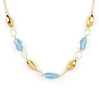Oro giallo topazio azzurro, collana girocollo donna in oro giallo tit 750 (18 kt) con centrale di pietre topazio azzurro ed elemento traforato ovale in oro