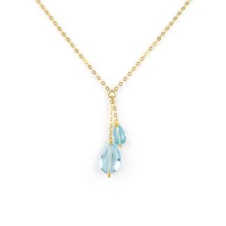 Collana oro topazio azzurro, collana girocollo donna in oro giallo tit 750 (18 kt) con pendente di due pietre topazio azzurro