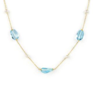 Collana perle topazio azzurro, girocollo donna in oro giallo tit 750 (18 kt) centrale di tre pietre topazio azzurro e quattro perle coltivate acqua dolce