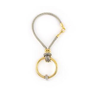 Portachiavi uomo oro acciaio, idea regalo portachiavi uomo in oro giallo tit 750 (18 kt) e acciaio, lunghezza totale 6,70 cm