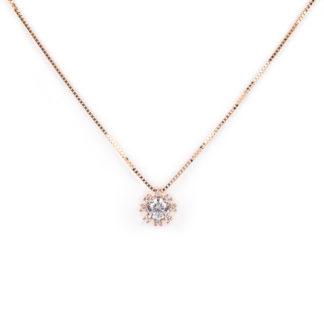 Collana oro rosa girocollo donna in oro rosa tit 750 (18 kt) con pendente di zirconi scorrevole (che non esce); catena veneziana massiccia