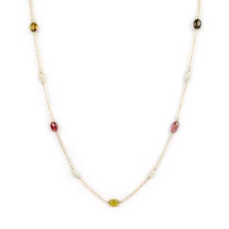 Collana lunga tormaline perle, collana lunga donna in oro giallo tit 750 (18 kt) con tormaline e perle coltivate acqua dolce