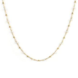 Collana perle oro giallo, girocollo donna in oro giallo tit 750 (18 kt), con perle coltivate acqua dolce alternate a palline in oro giallo lucido