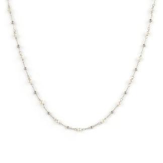Collana perle oro bianco, girocollo donna in oro bianco tit 750 (18 kt), con perle coltivate acqua dolce alternate a palline in oro bianco lucido