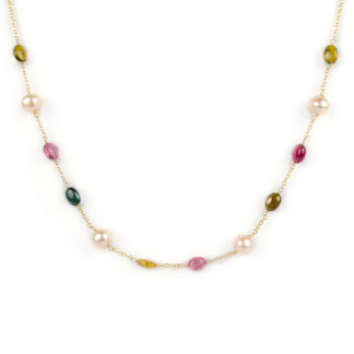 Collana centrale tormaline perle, girocollo donna in oro giallo tit 750 (18 kt) con centrale di tormaline e perle rosate coltivate in acqua dolce