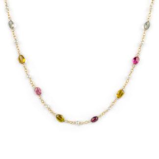 Collana tormaline perle oro, girocollo donna in oro giallo tit 750 (18 kt) con tormaline e perle coltivate in acqua dolce