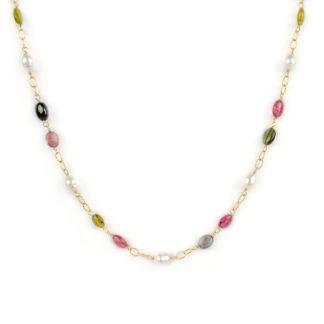 Collana tormaline perle ovali, girocollo donna in oro giallo tit 750 (18 kt) con tormaline e perle coltivate in acqua dolce