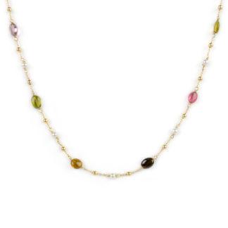 Collana tormaline perle oro, girocollo donna in oro giallo tit 750 (18 kt) con tormaline, perle coltivate in acqua dolce e palline in oro giallo lucido