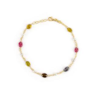 Bracciale oro tormaline perle, bracciale donna in oro giallo 750, con pietre tormaline e perle coltivate acqua dolce, lunghezza bracciale 19 cm