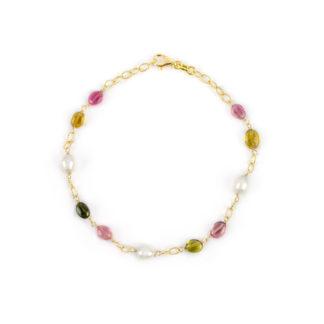 Bracciale tormaline perle ovali, bracciale donna in oro giallo 750, con pietre tormaline e perle ovali coltivate acqua dolce