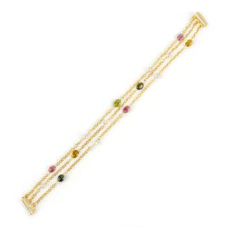 Bracciale tre fili tormaline, bracciale donna a tre fili in oro giallo 750, con pietre tormaline e perle coltivate acqua dolce