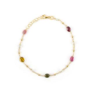 Oro giallo tormaline perle, bracciale donna in oro giallo 750, con pietre tormaline, perle coltivate acqua dolce e palline in oro giallo lucido