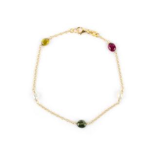 Bracciale oro tormaline perle, bracciale donna in oro giallo 750, con pietre tormaline e perle coltivate acqua dolce lunghezza bracciale 19 cm